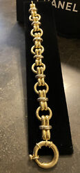 Heavy 14k Yellow Gold Italy 8 1/4andrdquo Toggle 15mm Chain Link Bracelet 31.9 Grams