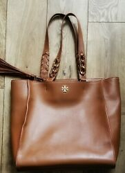 Tory Burch Womens Handbag Tote Size Large Brown Carry All Logo Authentic $79.99
