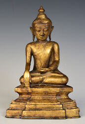 16th Century, Early Shan, Antique Burmese Bronze Seated Buddha With Gilded Gold