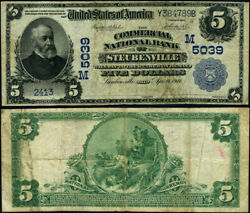 Steubenville Oh 5 1902 Pb National Bank Note Ch 5039 Commercial Nb Fine