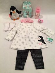Reborn Baby Doll Penquin Top And Pant W/bottle,pacifier,accs