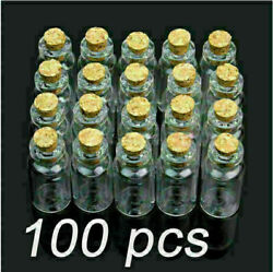 Lot Of 100 Pcs 2ml Size 16x35mm Small Tiny Clear Glass Bottle Vial With Cork