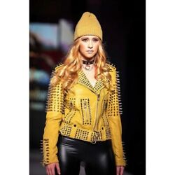 Slim Fit Yellow Real Leather Silver Spike Metal Punk Studwork Fashionable Jacket
