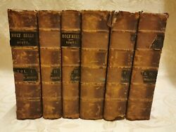 Full Set 6 Antique Books Of Holy Bible Containing The Old And New Testaments -1844