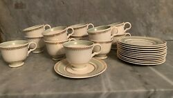 Vintage Tea Cups And Saucers Lot Of 24 Limoges Lyceum Green Fine China