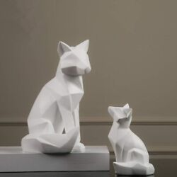 Fox Sculpture Animal Statues Geometric Abstract Ornaments Modern Home Decoration