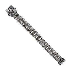 925 Sterling Silver Engraved Link Chain Bracelet Antique Jewelry Se