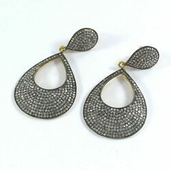 Pave Diamond Designer Earrings 925 Sterling Silver Antique Style Jewelry Se