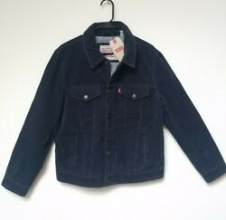 Leviand039s Menand039s Faux Suede Trucker Jacket Navy Blue New Authentic Sz M