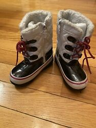 Toddler Girls TOTES Waterproof White amp; Black Winter Snow BOOTS Size 9 $20.99
