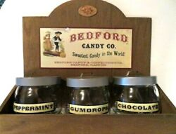 Vintage-bedford Candy Co. Wooden Store Display-includes 3 Candy Jars With Lids