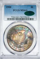 1900 Morgan Pcgs Ms64+ Cac-verified Late Stage Neon Color-toned Silver Dollar