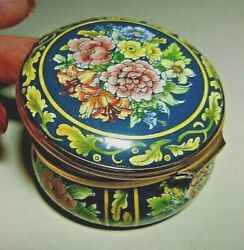 Halcyon Days Enamel Floral Bouquet Hinged Round Box-bilson And Battersea England