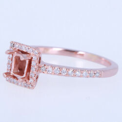Cushion 4x4mm Solid 18k Rose Gold 0.25ct Natural Diamonds Fine Semi-mount Ring