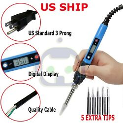 80W Electric Soldering Iron LCD Adjustable Temperature Welding Tool US Plug 110V