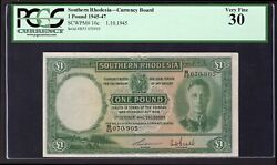 Southern Rhodesia Currency Note. 1 Pound. 1-10-1945. B/53 070905. Pick 10c...