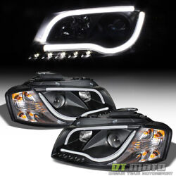 Black 1998 2001 Audi A6 quot;RS5 Stylequot; LED DRL Projector Headlights 98 01 Headlamps