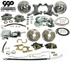 67-70 Chevy C10 Truck 12 Front 11 Rear Brake Kit Drop Spindle 5x5 Showstopper