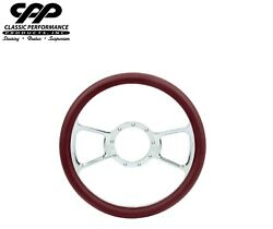 New Cpp Chrome Steering Wheel 14 Flyer Burgundy Leather 1/2 Wrap Hotrod Classic