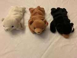 Ty Bear Trio-- Rare 1st Edition Chilly, Cubbie, Blackie, 1993
