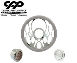 New Cpp Torch Chrome Billet 14 Steering Wheel Grey Leather 1/2 Wrap Hub Horn