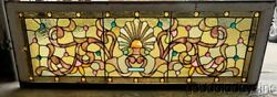 Antique 1890and039s Victorian Stained Leaded Glass Transom Window W/ 36 Jewels 52x18