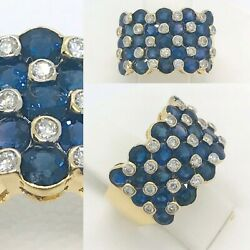 Sapphire 4 Ct And Diamond .35 Ct Cigar Band 18k Yellow Gold Ring Size 6 1/4