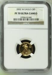 2002 W Gold Eagle 5 Coin. Ngc Graded Pf 70 Ultra Cameo. Ngc Cert 3795610-040