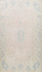 Antique Kirman Evenly Low Pile Muted Area Rug Distressed Hand-knotted Wool 9x13