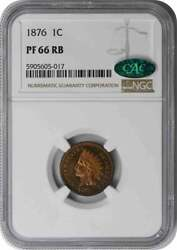 1876 Indian Cent Pr66rb Ngc Cac