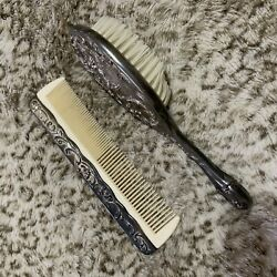 Vintage Hair Brush And Comb Set Silver Plated Dresser Set Victorian Style