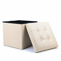 Folding Storage Chest Ottoman Bench Cube Footrest Stool Padded Seat Faux Leather