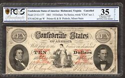 The Confederate States Of America 10 Dollars Sept 2nd 1861 Plate Letter W...