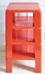 Vintage Retro 1960's Mario Bellini Four Red Stacking Nesting Tables