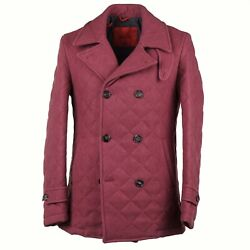 Isaia Raspberry Pink Quilted Wool And Silk Peacoat S Eu 48 Nwt 4495