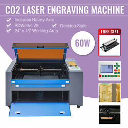 60w 24x16 Inch Co2 Laser Engraver Engraving Machine Ruida With Rotation Axis