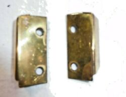 Antique Salvage Pair Brass Brackets For Glass Front Spool Cabinets 2318