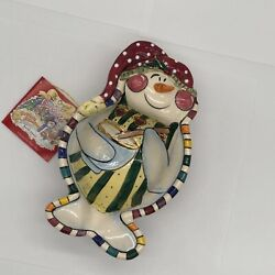 Clay Works Christmas Collection 2003 Blue Sky Snowman Candy Dish Bowl Nwt
