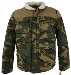 New Leviand039s Woodsman Arctic Menand039s Sizes L / Xl Camo Sherpa Quilted Trucker Jacket