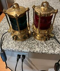Vintage Dock Piling Lights By Nelson Electric Co Red And Green Nautical Boat Sea