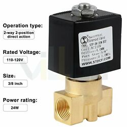 3/8 Electric Brass Solenoid Valve Ac 110v Normally Closed For Water Air Fuel