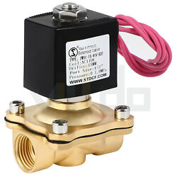 1/2 Electric Brass Solenoid Valve Ac 110v Air Gas Water Fuel Normally Closed