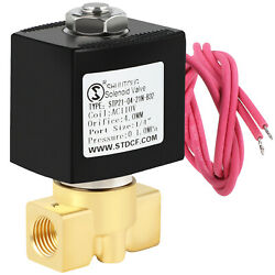 1/4 Brass Electric Solenoid Valve Ac 110v Volt For Water Air Gas Fuel N/c Npt