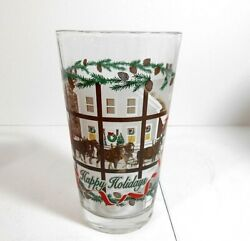 Lot Of Eight Vintage Christmas Budweiser Clydesdale Holiday Beer Glasses Xlnt