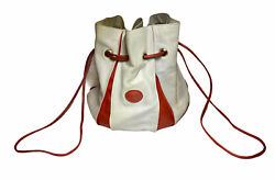Vintage Rare Authentic GUCCI Bucket Bag Leather White amp; Red Made in Italy $494.98