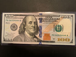 🔥100 Dollar Bill Uncirculated Even Serial Numbers 2017 Series 06004444 🔥