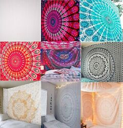 Indian Blank White Tapestry Wall Hanging 100% Cotton Custom Tie Dye Bedspreads