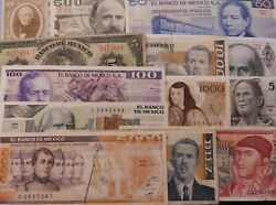 Mexico 13 Different Old Banknotes With Portraits 1963-92 Used To Mint Condition