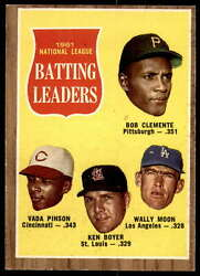 1962 Topps 52 Clemente/pinson/boyer/moon Ex-mint N.l. Batting Leaders Id194517
