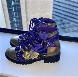 Purple And Gold Ankle Boots